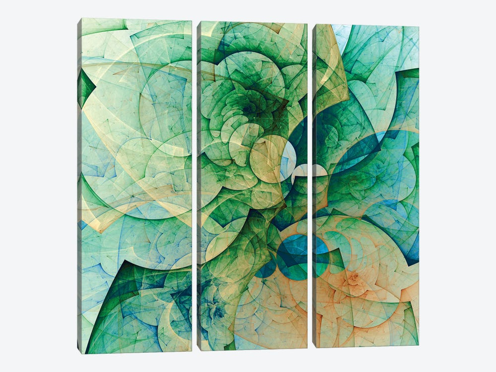 Greenish And Transparent by Angel Estevez 3-piece Canvas Art