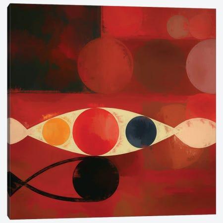 Circles On Red Background Canvas Print #AEZ91} by Angel Estevez Canvas Art