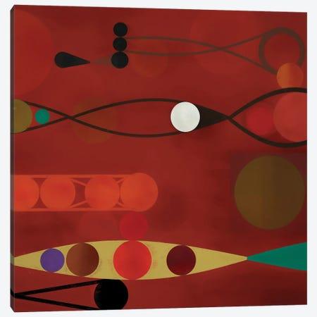 Circles On Red Background II Canvas Print #AEZ92} by Angel Estevez Canvas Art