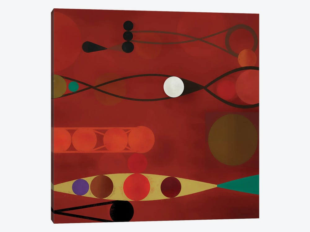 Circles On Red Background II by Angel Estevez 1-piece Canvas Art
