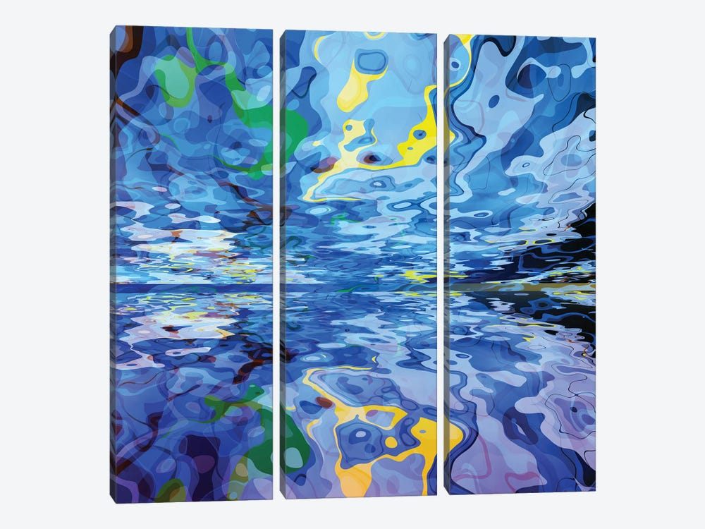 Surrealist Sky And Their Reflections by Angel Estevez 3-piece Art Print