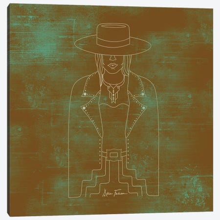 Lady Outlaw in Rust & Turquoise Canvas Print #AFC12} by Allie Falcon Canvas Print