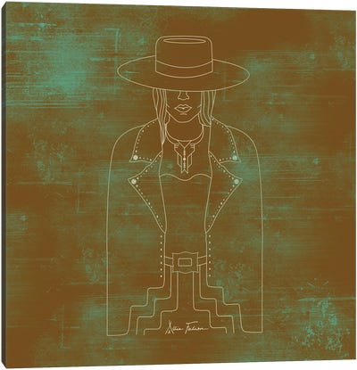 Lady Outlaw in Rust & Turquoise Canvas Art Print