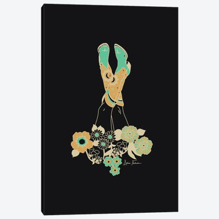 Love Stoned in Black & Turquoise Canvas Print #AFC22} by Allie Falcon Canvas Artwork