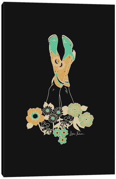Love Stoned in Black & Turquoise Canvas Art Print