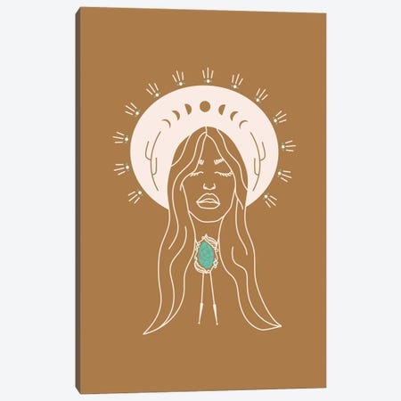 Desert Angel in Camel & Turquoise Canvas Print #AFC5} by Allie Falcon Canvas Artwork