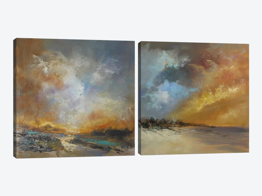 Golden Diptych by Anne Farrall Doyle 2-piece Canvas Wall Art
