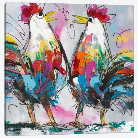 Let's Talk About Chicken Canvas Print #AFI14} by Art Fiore Canvas Artwork