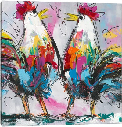Let's Talk About Chicken Canvas Art Print