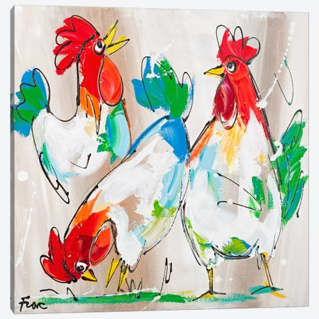 Cocks Talking Canvas Print #AFI2} by Art Fiore Canvas Art Print