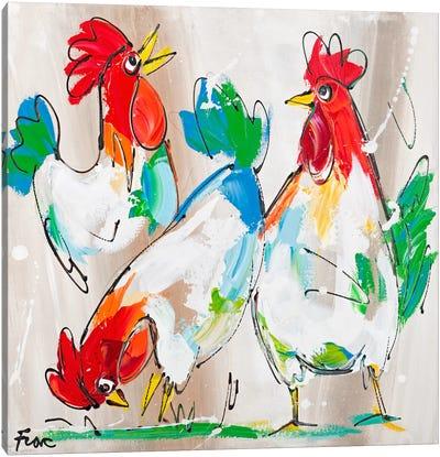 Cocks Talking Canvas Art Print