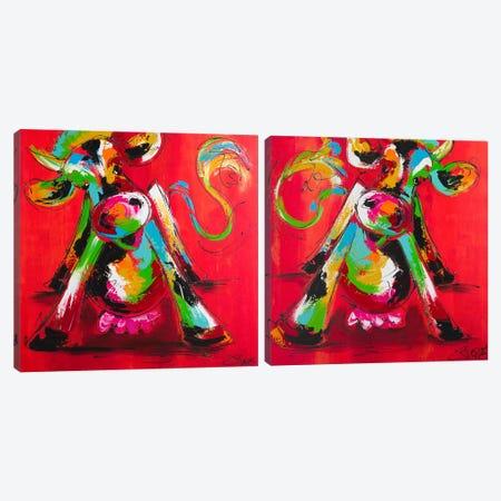 Disco Cow Diptych Canvas Print Set #AFI2HSET001} by Art Fiore Canvas Art Print