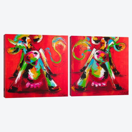 Disco Cow Diptych Canvas Print Set #AFI2HSET001} by Art Fiore Canvas Art Print