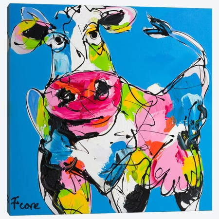 Colourful Art Cow Canvas Print #AFI3} by Art Fiore Art Print