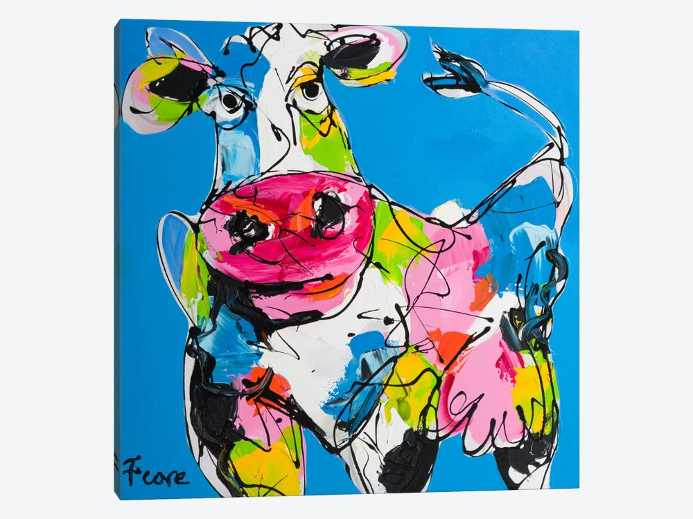 Colourful Art Cow by Art Fiore 1-piece Canvas Print