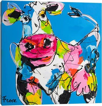 Colourful Art Cow Canvas Art Print