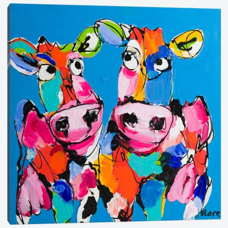 Colourful Art Cows Canvas Print #AFI4} by Art Fiore Canvas Artwork