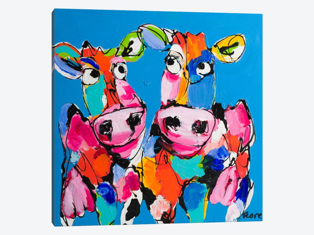 Colourful Art Cows by Art Fiore 1-piece Canvas Artwork