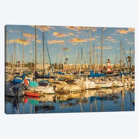 Boats At The Marina With Lighthouse Canvas Print #AFK126} by Alison Frank Art Print