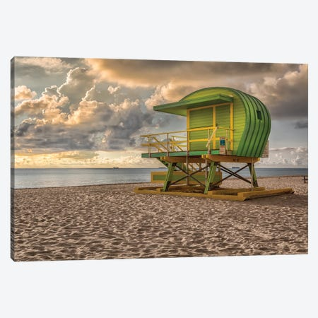 Green Lifguard Stand Canvas Print #AFK55} by Alison Frank Canvas Art
