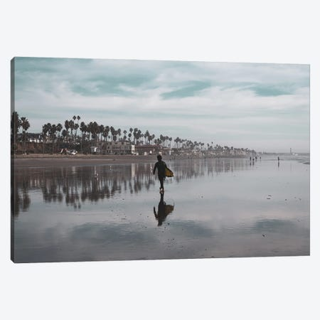 Surfer At Low Tide Canvas Print #AFK83} by Alison Frank Canvas Art