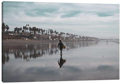 Surfer At Low Tide Canvas Art Print
