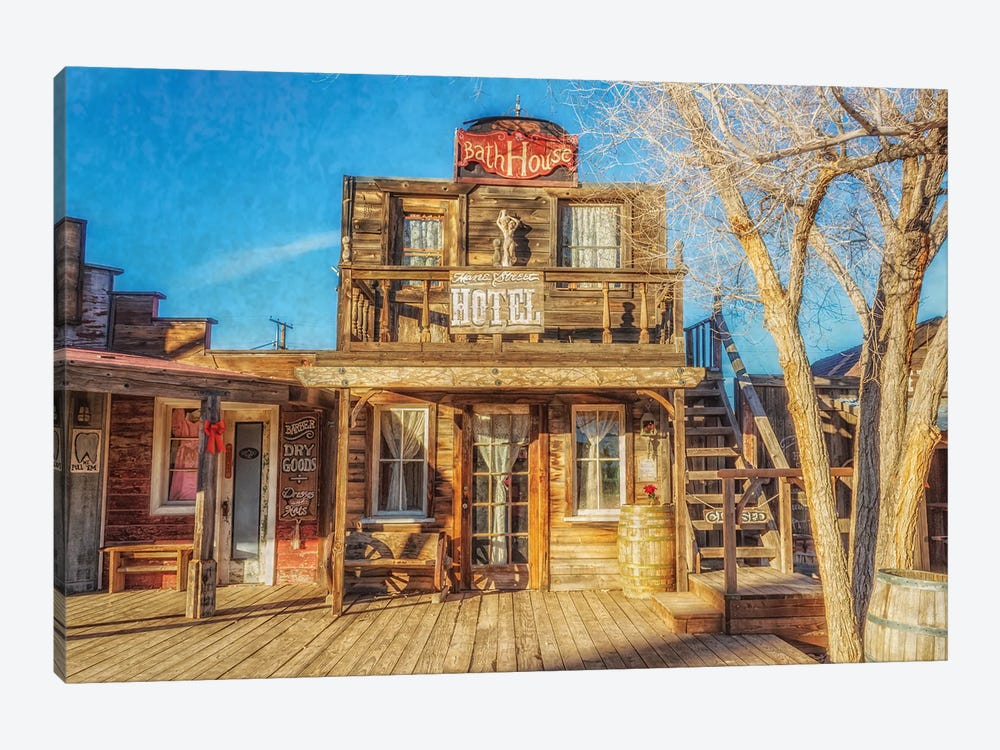 Bath House And Mane Street Hotel by Alison Frank 1-piece Canvas Wall Art