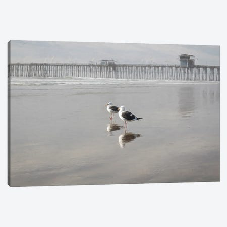 Two Seagulls At The Pier Canvas Print #AFK86} by Alison Frank Art Print