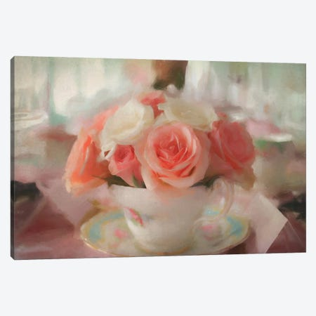 Roses In A Teacup Canvas Print #AFK92} by Alison Frank Canvas Print