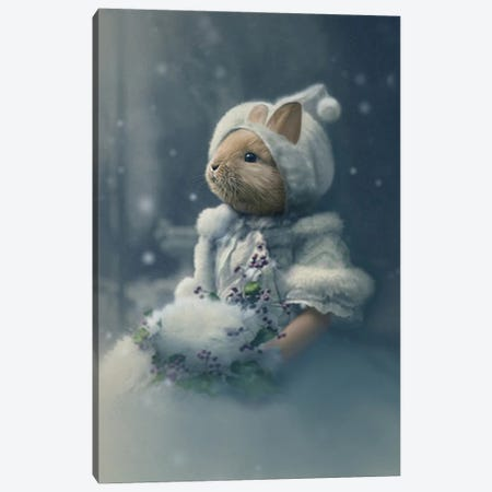 Bonnie The Snow Bunny Canvas Print #AFN15} by Animal Fancy Canvas Print
