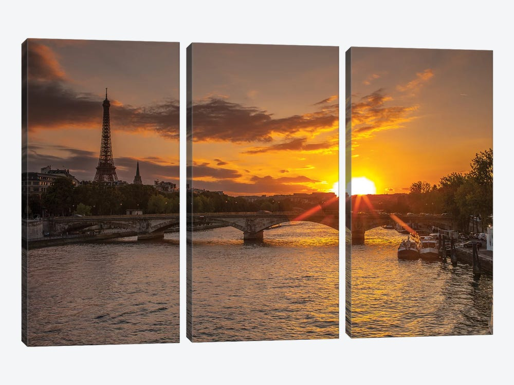Paris V by Assaf Frank 3-piece Canvas Art Print