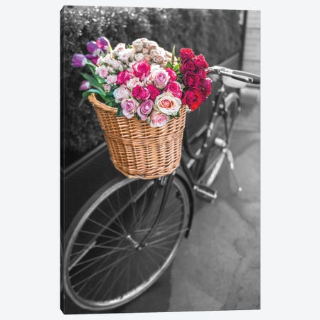 Basket Of Flowers I Canvas Print #AFR64} by Assaf Frank Canvas Wall Art