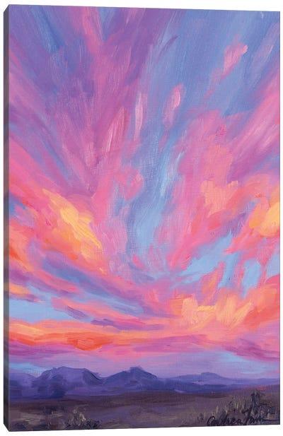 Distant Mountains Under Sherbet Skies Canvas Art Print