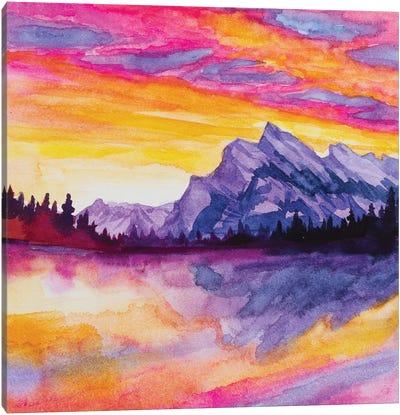 Glowy Lake At Sunset Canvas Art Print
