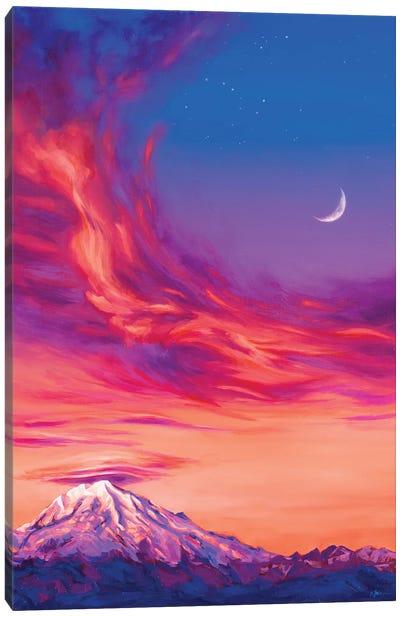 Lenticular Clouds Over Rainier At Dusk Canvas Art Print
