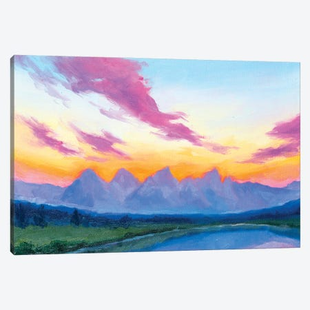 Tetons At Dusk Canvas Print #AFS66} by Andrea Fairservice Art Print
