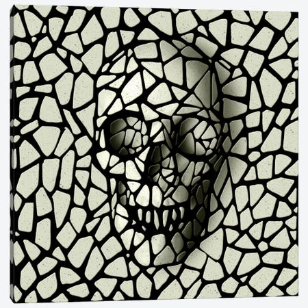 Mosaic Skull Mono Canvas Print #AGC125} by Ali Gulec Canvas Wall Art