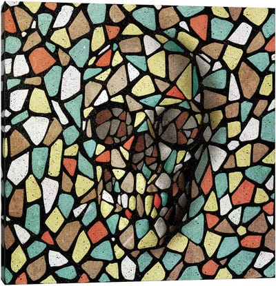 Mosaic Skull Color Canvas Art Print