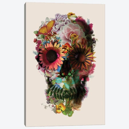 Skull 2 Beige Canvas Print #AGC127} by Ali Gulec Canvas Artwork