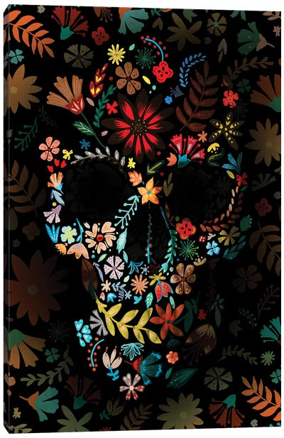 Flowery Skull Canvas Art Print