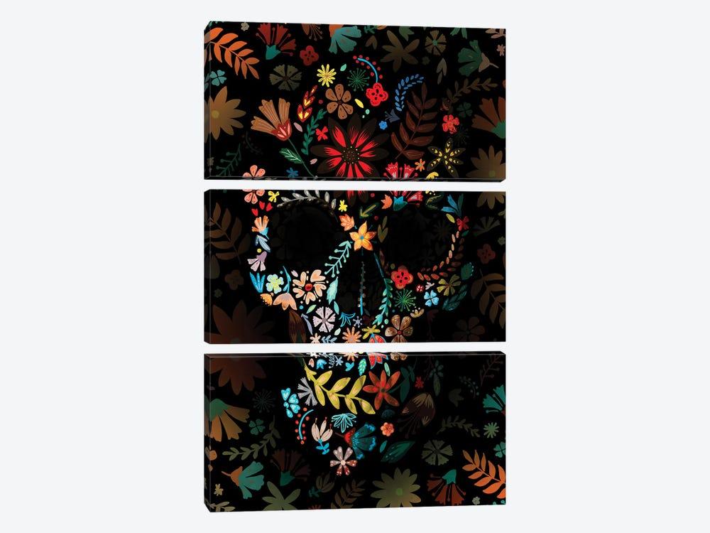 Flowery Skull by Ali Gulec 3-piece Canvas Wall Art