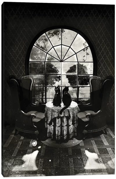 Room Skull B/W Canvas Art Print
