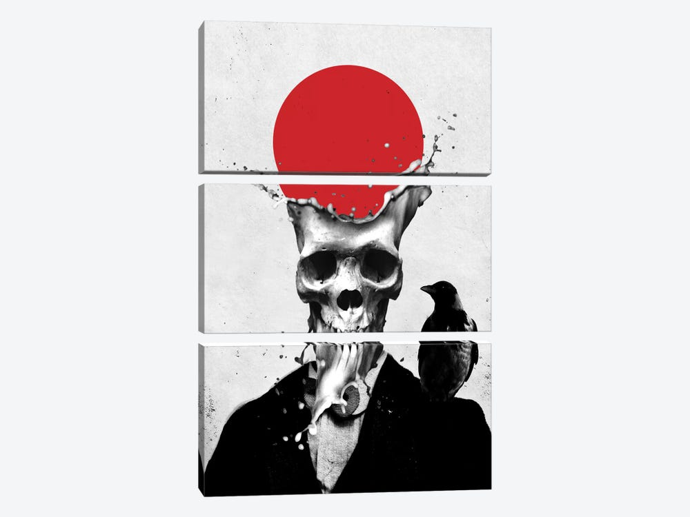 Splash Skull by Ali Gulec 3-piece Art Print