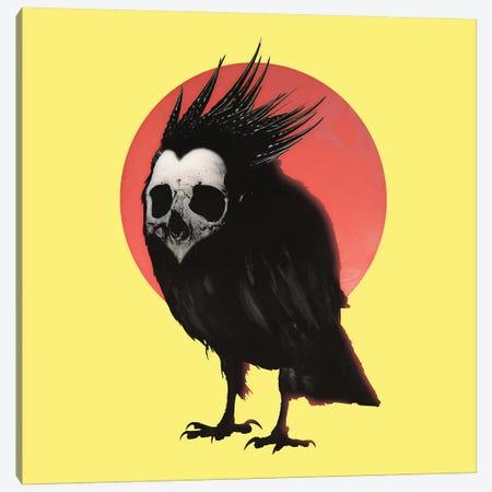 Birdie, Yellow Background Canvas Print #AGC44} by Ali Gulec Canvas Wall Art