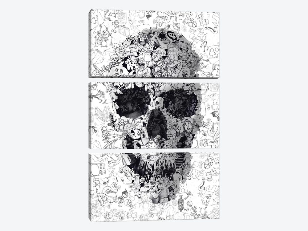 Doodle Skull by Ali Gulec 3-piece Canvas Print