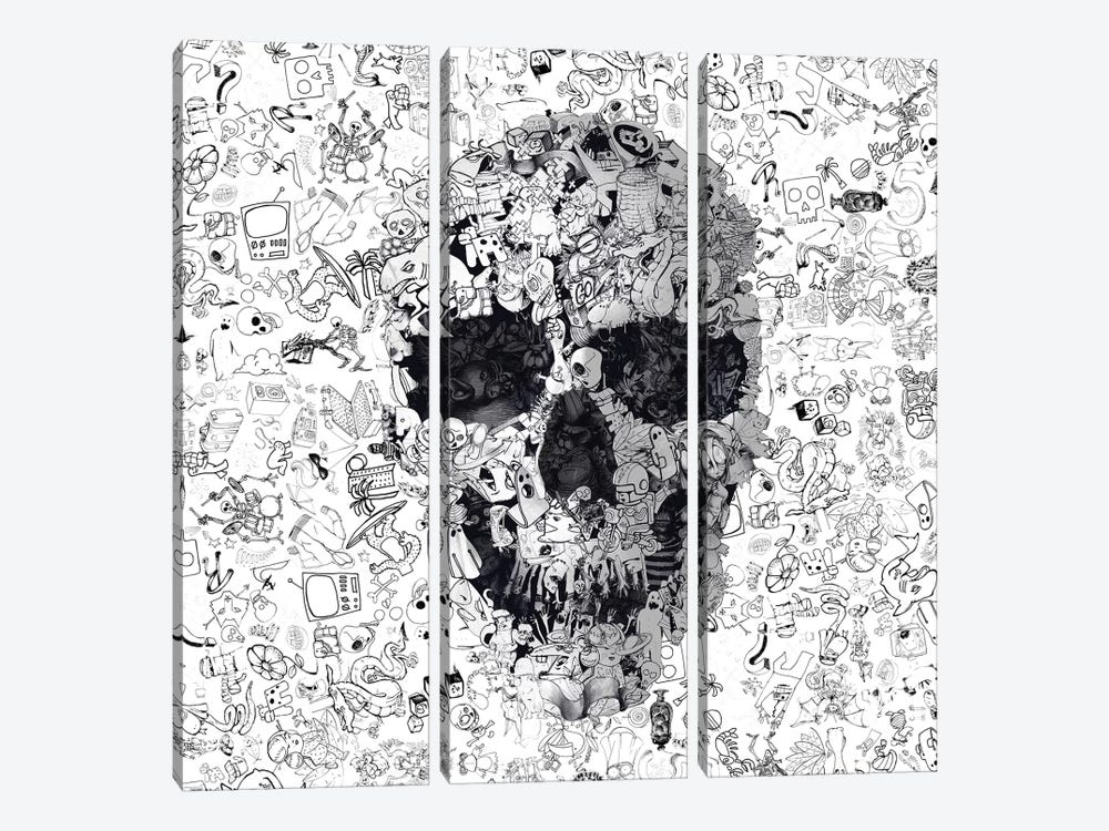 Doodle Skull, Square by Ali Gulec 3-piece Art Print