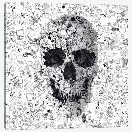Doodle Skull, Square Canvas Print #AGC50} by Ali Gulec Canvas Art