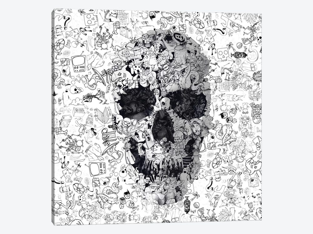 Doodle Skull, Square by Ali Gulec 1-piece Canvas Art Print
