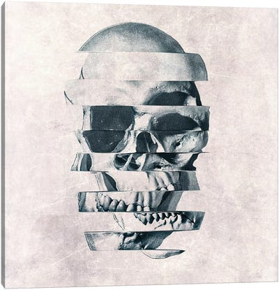 Glitch Skull Mono Canvas Art Print
