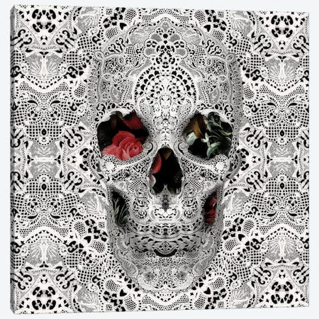 Lace Skull II, Square Canvas Print #AGC67} by Ali Gulec Canvas Artwork